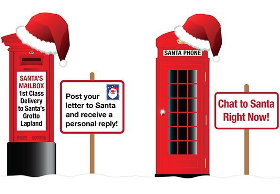 Christmas Post Box and Telephone Box
