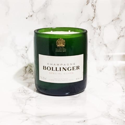 Upcycled Bollinger Champagne Bottle Candle