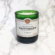 Upcycled Taittinger Champagne Bottle Candle