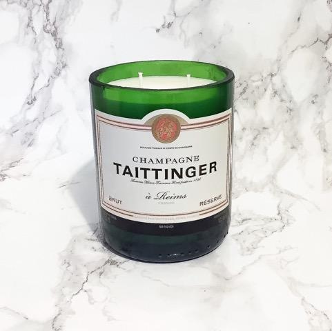 Upcycled Taittinger Champagne Bottle Candle