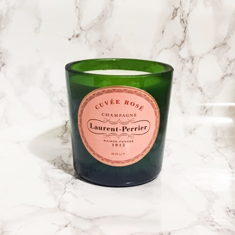 Upcycled Laurent Perrier Rose Champagne Bottle Candle