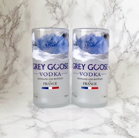 Pair of Upcycled Grey Goose Vodka Bottle Tumblers / Glasses