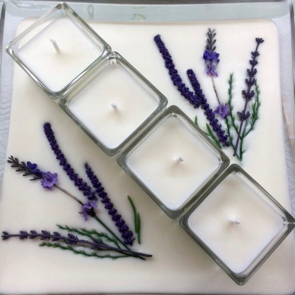 Square Glass Platter Lavender