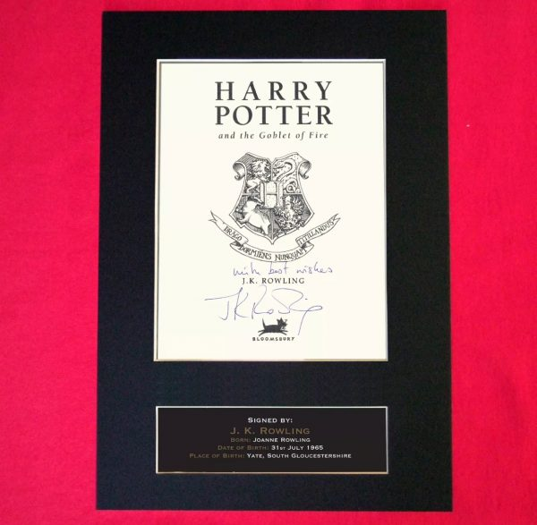 J K Rowling Signed Reproduction Print