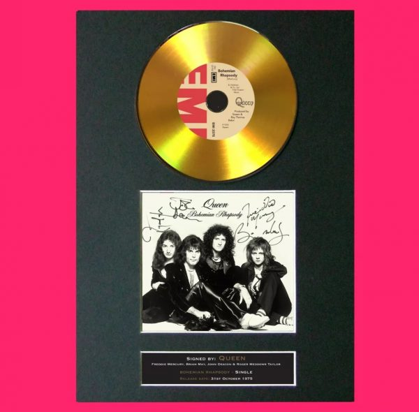 Queen Gold CD Signed Reproduction Print