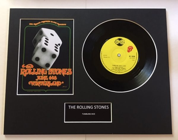 """The Rolling Stones Tumbling Dice 7"""" Vinyl Record Display Picture"""